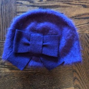 Accessories - Alpaca Purple Hat with Bow. Handmade.
